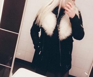black, blonde, and coat image