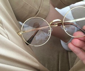 glasses, aesthetic, and beige image
