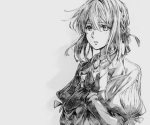 anime, black and white, and violet image