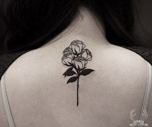 rose tattoo, tattoo, and black work tattoo image