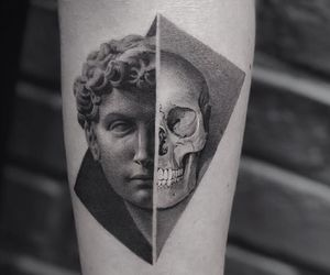 tattoo, skull tattoo, and portrait tattoo image