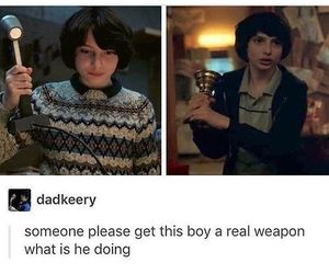 funny, weapon, and stranger things image