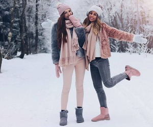 beauty, besties, and snow image