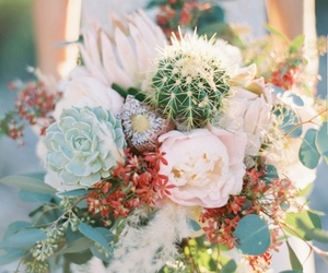 bouquet, cactus, and flowers image