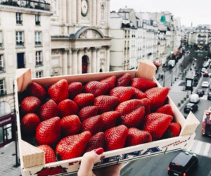 city, food, and strawberry image