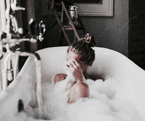 bath, girl, and relax image