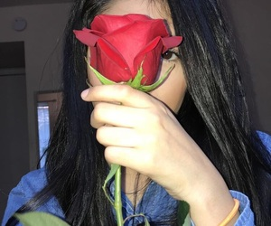 model, pretty, and roses image
