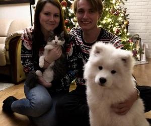 couple, cristmas, and dog image