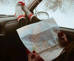 snow, travel, and map image