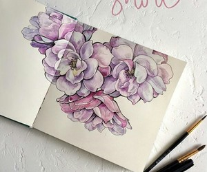 color, drawing, and flowers image