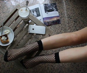 chic, coffee, and fishnets image