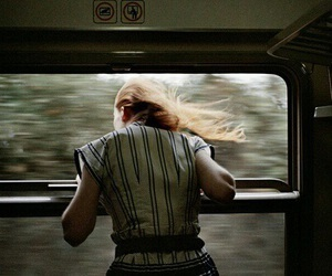 girl, train, and vintage image