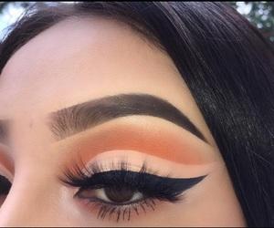 black, eyelashes, and makeup image