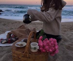 beach, girl, and food image