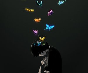 anime, artist, and butterfly image