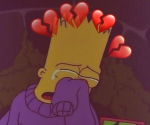 bart simpson, broken hearts, and simpsons image