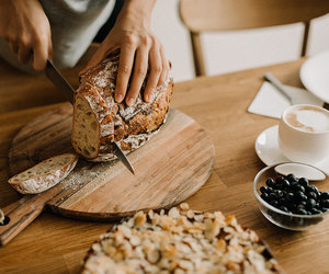 bread, breakfast, and coffee image