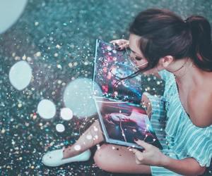 light, girl, and book image