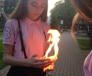 girl, fire, and aesthetic image