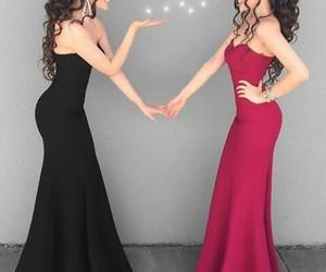 dress, prom dress, and black mermaid prom dress image