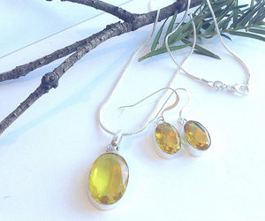 etsy, 925 sterling silver, and citrine necklace image