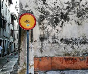 eye, yellow, and sign image