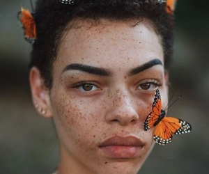 beauty, butterfly, and girl image