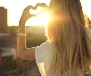 girl, heart, and sun image