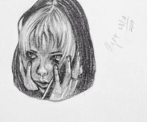 Alice Glass, girl drawing, and short hair image