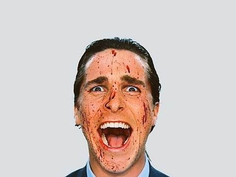 blood, american psycho, and christian bale image