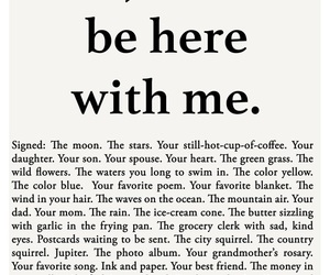 poem, just be here with me, and petition for presence image