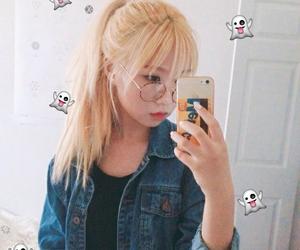 korean girl, blond hair, and ulzzang girl image