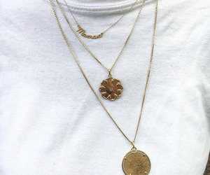 gold, necklace, and style image