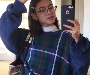 plaid sweater, aesthetic girl, and aesthetic style image