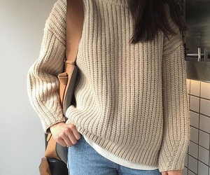 jeans, beige sweater, and aesthetic outfit image