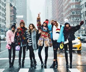 new york, winter, and friends image