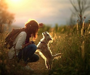 dog and girl image