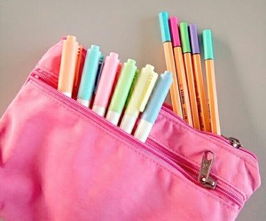 college, pastel colors, and pencil case image