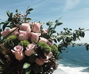 beach, bouquet, and floral image