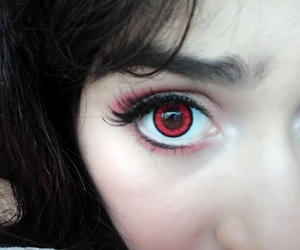 contacts, makeup, and red eyes image