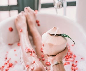 aesthetic, bubble bath, and petals image