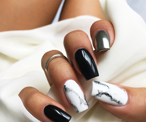 nails, black, and marble image