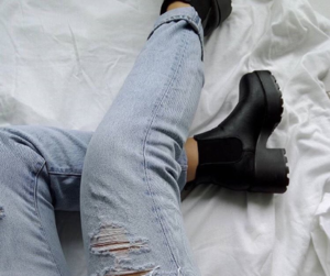 black boots, boots, and fashion image