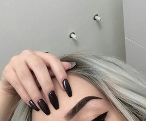 nails, black, and eyebrows image