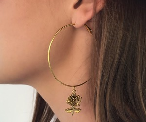 rose, gold, and earrings image