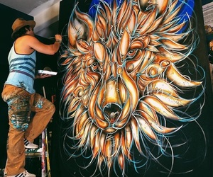 art, lion, and painting image