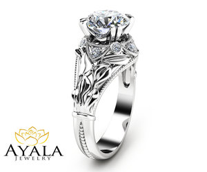 diamond ring, etsy, and white gold ring image