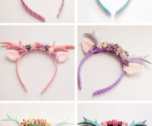 unicorn, headband, and kawaii image