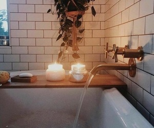 bathtube, candle, and candles image