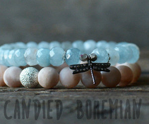 bracelet, crystal jewelry, and dragonfly image
